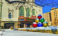 Downtown Holiday Decor with Huge Ornaments